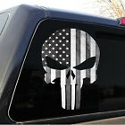 Punisher Skull American Flag Decal Sticker Graphic (black and white) - 5 Sizes