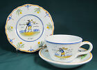 Vintage Nevers France Faience Hand Painted Cup Saucer Plate French Revolution