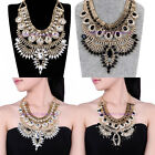 Fashion Golden Chain White Crystal Acrylic Choker Statement Pendant Bib Necklace