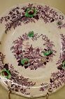 Antique Purple Mulberry Ironstone Polychrome Plate 9 1/2 Tyrol pattern Wedgewood