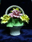 Vintage CapoDimonte Large Flower Basket Centerpiece Pink and Yellow Roses