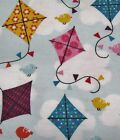 Snuggle Flannel Multi Color Kites Apparel Quilting General BTY New