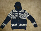 Abercrombie & Fitch Sweater Cardigan Winter Christmas Hoodie M Mens Blue White