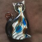 Beautiful Hand Blown Glass Cat Figurine Paperweight home Decor