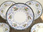 6 ROYAL DOULTON DINNER PLATES BLUE EDGE SCROLLS MULTI-COLOR BIRDS OF PARADISE