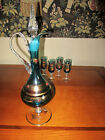 Venetian Art Glass Wine Decanter Set Blue with Gold Gilding Made In Italy