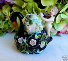 Antique 19th c. Sitzendorf German Porcelain Vase Figurine Swan Cherub Flowers