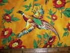 RARE GORGEOUS RO GREGG NORTHCOTT PHEASANTS FLOWERS MUMS COTTON FABRIC 1 yd