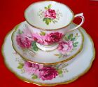 Royal Albert AMERICAN BEAUTY Trio: Cup & Saucer Dessert Plate 1930s
