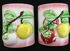 Majolica Apple Fruit Red/Yellow/Pink Tree Wall Pocket Vase Organizer Japan  Pair