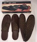VINTAGE Mens Travel Slippers Swank 1993 In Case and Box Size 8 Small Brown EUC