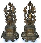 ANTIQUE PAIR FRENCH DORE GILDED BRONZE PUTTI CHENETS STATUE MANTLE GARNITURE