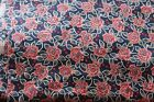 Red Navy Blue Floral Fabric Civil War Reproduction Cotton Quilting 2+ yd