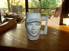 Rare Frankoma 602 Toby Mug Cup Face Head Baseball player white on red clay 1978
