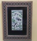 ANTIQUE Signed Persian Miniature Horse Chougan Polo Scene Painting-Mosaic Frame