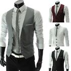 2015 Plus Men Formal Slim Fit Pocket Design Casual Fashion V-neck Vest Coat Tops