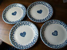 TIENSHAN FOLK CRAFT HEARTS BLUE SPONGE DINNER PLATES FOUR
