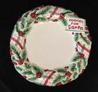 Fitz & Floyd COOKIES FOR SANTA Holly Plaid Christmas Plate