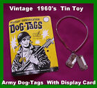 Vintage Rare Tin Toy  US Army  WW2  Dog Tags  Military Toy  1960's  No Reserve