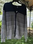 OneOneSeven Men's L Navy Blue/Gray Hooded Button Front Cardigan LS Sweater NWT