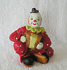 Vintage / Antique Hand Painted Porcelain Bisque Sitting Clown Playing Accordian