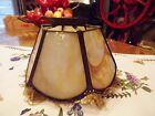 VICTORIAN OLD ANTIQUE SLAG STAINED GLASS 6 PANEL LAMP SHADE WITH FRINGE
