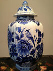 Hand-Painted Delft  Vase with lid Flower Design
