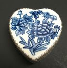 Chinese Hand Painted Porcelain & Metal HEART Shape Blue Floral Trinket Box