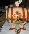hand painted Sake set- barrel with elephant on top with four Sake cups-pristine.