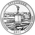 2011 America the Beautiful 5oz Silver Coin Gettysburg National Military Park