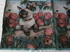 Siamese Cat Sitting in Tulips flower garden Tapestry Fabric Pillow top 2 Panels