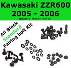 Black Fairing Bolt Kit body screws fasteners for Kawasaki ZZR 600 2005 - 2006