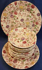 11 Vintage Chintz Plate Japan Pottery Red Blue Dish Set Berry Bowl Soup Saucer