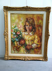 Lizette De Winne - Girl With Flowers - Original Oil on Canvas BEAUTIFUL!! LARGE