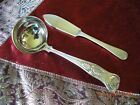 VINTAGE SILVER PLATE CREAM LADLE AND BUTTER KNIFE GLEAMING  - ENGLAND