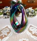 Purple Carnival Glass Paperweight Sculpture Signed by Robert Eickholt 1996 (PE2)