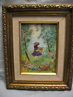 *Signed* French Louis Cardin Oil on Copper Painting *Girl with Flowers*