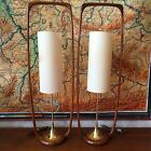 Vintage Mid Century Modern Modeline Of California Sculpted Walnut Lamps Danish