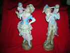 FINAL SALE!  PAIR ANTIQUE 1850 GERMAN DRESDEN SITZENDORF BISQUE FIGURINES 2 FT.