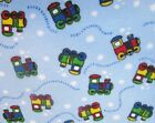 Snuggle Flannel Blue  Multi Color Train Apparel Quilting Gen BTY New
