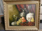 Vintage Peter Kloton Still Life Oil on Canvas Matted and Framed Art