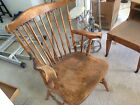 VINTAGE COMB-BACK  WINDSOR ARM CHAIR NATURALLY WEATHERED FINISH SOLID WOOD
