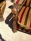 Gargoyles Lion Head Paw Feet- Antique Chairs- Pair- Wood Library Castle Gothic