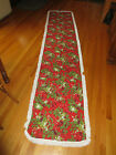X LONG Vintage CHRISTMAS Cotton Print FRINGED HOLLY BERRY RUNNER 27 x 126
