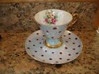 Vintage Tea Cup and Saucer Iridescent Polka Dot Roses Blue Gold Pedistal Japan
