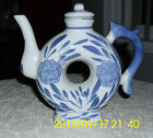 Asian Donut Shape Tea Pot Blue and White Made in China