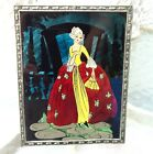 Antique Reverse Glass Painting Picture Over Foil Art-Deco