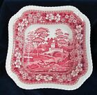 Antique Copeland Pink SPODE TOWER Square Open Serving Bowl England Old Mark
