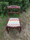 Antique Wood Rocking Sewing Chair With Rose Carving/All Offers Considered