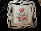 Vintage Floral W/Gold Ceramic Square Lattice Bowl Hand Made Signed Germany